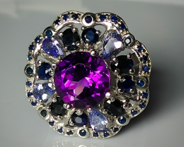 for Kelly - DIVINE AMETHYST TANZANITE SAPPHIRE STERLING SILVER RING SIZE 8.