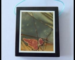 89Ct Natural Multi Color Picasso Jasper,Black Jasper Intarsia Pendant Bead(