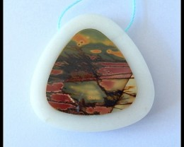 89Ct Natural Multi Color Picasso Jasper,White Agate Intarsia Pendant Bead(B