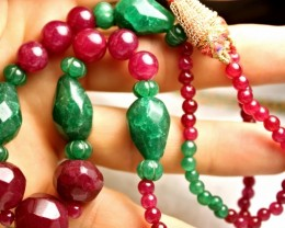 305 Tcw. Emerald / Ruby Necklace - 19 inches / adjustable