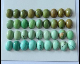 36 PCS Natural Turquoise Gemstone Cabochons,42.5Cts