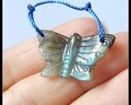 13Ct Natural Labradorite Gemstone Butterfly Craving Pendant Bead