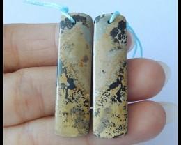28Ct Natural Chohua Jasper Earring Beads Pair,stone for earrings making B62