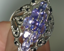 FABULOUS TANZANITE SAPPHIRE STERLING SILVER RING SIZE 7