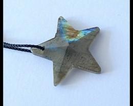8Ct Natural Labradorite Gemstone Star Pendant Bead