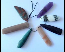 7 PCS Natural Gemstone Beads Parcel,130CT