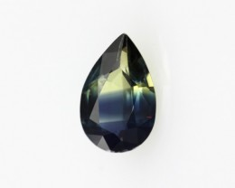 0.83cts Natural Australian Yellow/Blue Parti Sapphire Pear Cut
