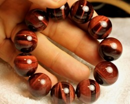 482 Tcw. Red Tiger Eye Bracelet - Beautiful