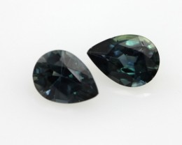 1.30cts  Matching Pair Natural Pear Sapphires 2pcs Beautiful Accent Stones