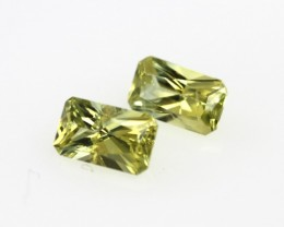 0.74cts  Matching Radiant Cut Pair Natural Yellow Sapphires 2pcs Beautiful