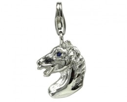 Sterling Silver Chinese Year of the Horse Zodiac Charm with Sapphire Eye