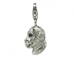 Sterling Silver Chinese Year of the Monkey Zodiac Charm with Sapphire Eye