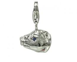 Sterling Silver Chinese Year of the Pig Zodiac Charm with Sapphire Eye