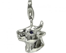 Sterling Silver Chinese Year of the Cow Zodiac Charm with Sapphire Eye