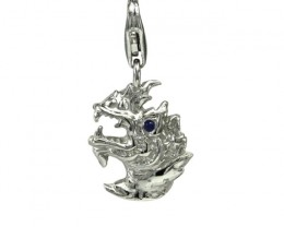 Sterling Silver Chinese Year of the Dragon Zodiac Charm with Sapphire Eye
