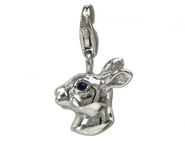 Sterling Silver Chinese Year of the Rabbit Zodiac Charm with Sapphire Eye
