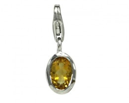 Sterling Silver Oval Shape Charm with Bezel Set Oval Cut Citrine