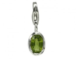 Sterling Silver Oval Shape Charm with Bezel Set Oval Cut Peridot