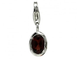 Sterling Silver Oval Shape Charm with Bezel Set Oval Cut Garnet