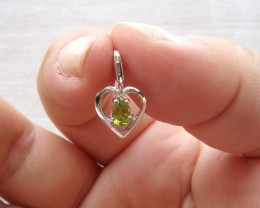 Sterling Silver Heart Shape Charm with 4 Claw Set Pear Shape Peridot