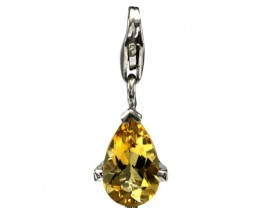 Sterling Silver Pear Shape Charm with 4 Claw Set Pear Shape Citrine