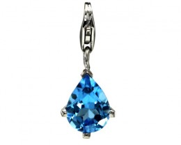 Sterling Silver Pear Shape Charm with 4 Claw Set Pear Shape Blue Topaz