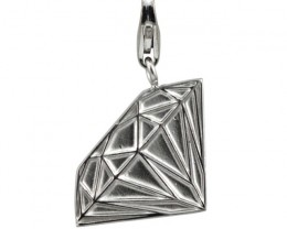 Sterling Silver Diamond Profile Charm