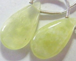 PREHNITE FACETED BEADS DRILLED PAIR 13 CTS NP-1927