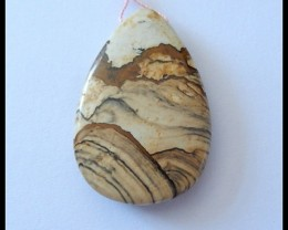 60Ct Natural Impressionist Picture Stone Pendant Bead