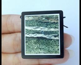 83.5Ct Natural Green Zebra Jasper,Black Jasper Intarsia Pendant Bead(B18041