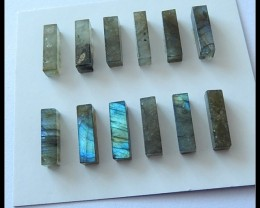 12 PCS Natural Labradorite Gemstone Cabochons Parcel,35.5ct