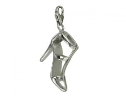 Sterling Silver Ladies Ankle Strap Stiletto Heel ShoeCharm