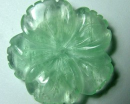 21.15 CTS PREHNITE FLOWER CARVING DRILLED  NP-1945