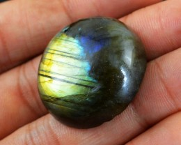Genuine 75.95 Cts Round Shaped Labradorite Cab
