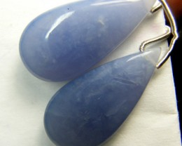 34 CTS CHALCEDONY DROPS PAIR DRILLED NP-1975