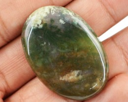 Genuine 47.45 Cts Oval Shaped Moss Agate Cab