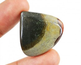 Genuine 28.70 Cts Pear Shaped Polygram Jasper Cab
