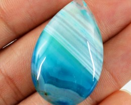 Genuine 38.70 Cts Pear Shaped Blue Onyx Cab