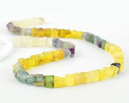 Genuine 160.00 Cts Multicolor Flourite Faceted Beads 16 Inch Strand