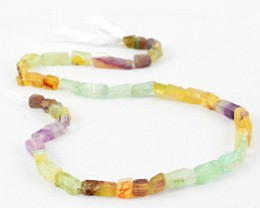Genuine 95.00 Cts Multicolor Flourite Beads 15 Inch Strand