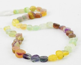 Genuine 130.00 Cts Multicolor Flourite Beads 14 Inch Strand