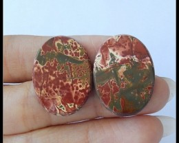 33Ct Natural Multi Color Picasso Jasper Cabochon Pair