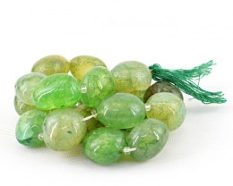 Genuine 400.00 Cts Green Onyx Beads 14 Inch Strand
