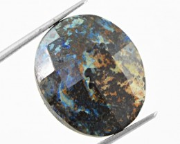 Genuine 18.80 cts Oval Shaped Checkered Cut Azurite Cab