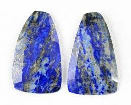 Genuine 41.00 Cts Blue Lapis Lazuli Checkered Cut Pair