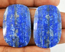 Genuine 49.90 Cts Blue Lapis Lazuli Checkered Cut Pair