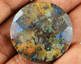 Genuine 24.60 Cts Round Shaped Checkered Cut Azurite Cab
