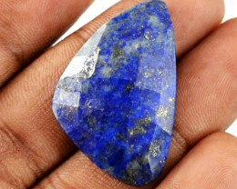 Genuine 26.60 Cts Blue Lapis Lazuli Checkered Cut Cab