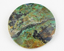 Genuine 26.20 Cts Round Shaped Checkered Cut Azurite Cab