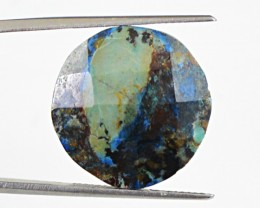 Genuine 14.80 Cts Round Shaped Azurite Checkered Cut Cab
